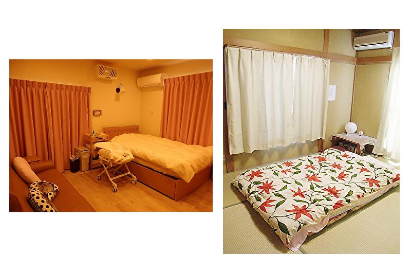 川崎市産後ケア宿泊型ベッドとふとんの部屋一例